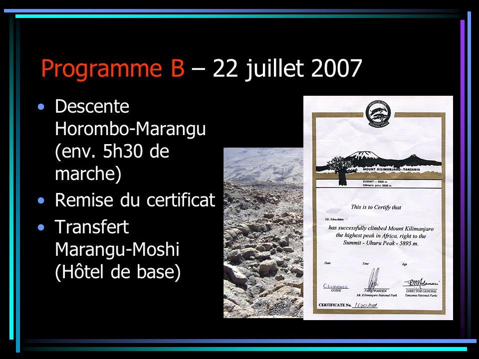 Programme B – 22 juillet 2007 Descente Horombo-Marangu (env. 5h30 de marche) Remise du certificat Transfert Marangu-Moshi (Hôtel de base)