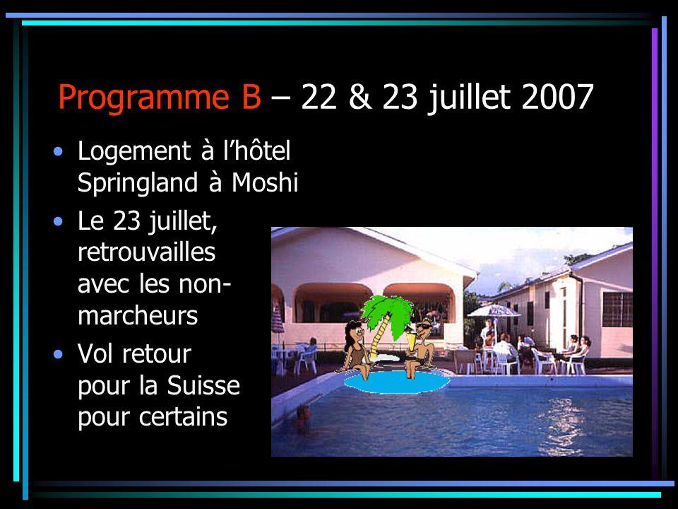 Programme B – 22 & 23 juillet 2007 Logement à lhôtel Springland à Moshi Le 23 juillet, retrouvailles avec les non- marcheurs Vol retour pour la Suisse