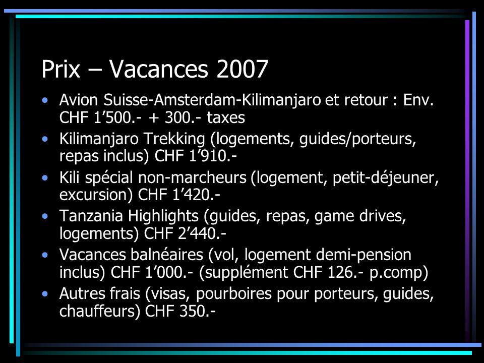 Prix – Vacances 2007 Avion Suisse-Amsterdam-Kilimanjaro et retour : Env. CHF 1500.- + 300.- taxes Kilimanjaro Trekking (logements, guides/porteurs, re