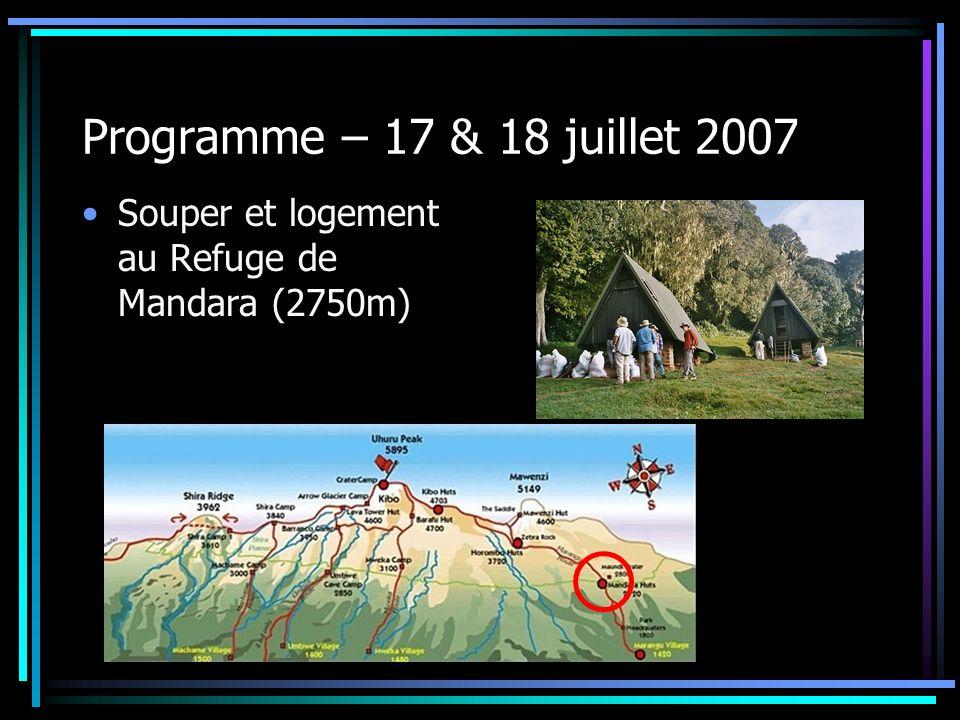 Programme – 17 & 18 juillet 2007 Souper et logement au Refuge de Mandara (2750m)