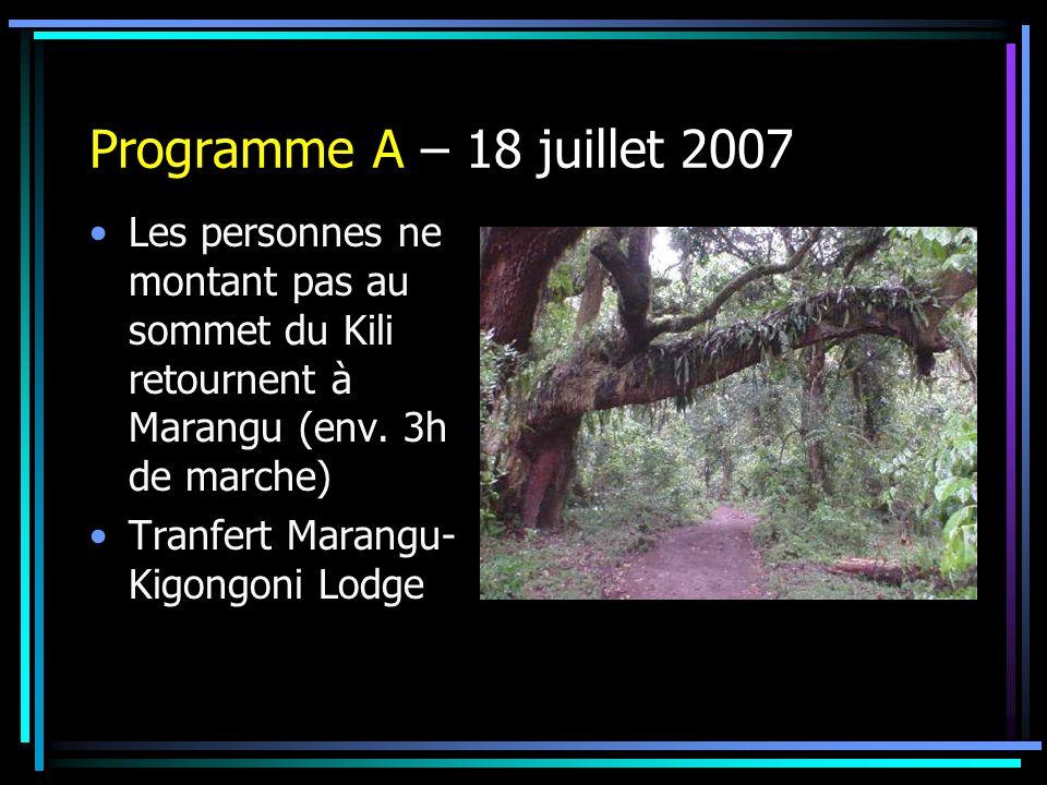 Programme A – 18 juillet 2007 Les personnes ne montant pas au sommet du Kili retournent à Marangu (env. 3h de marche) Tranfert Marangu- Kigongoni Lodg