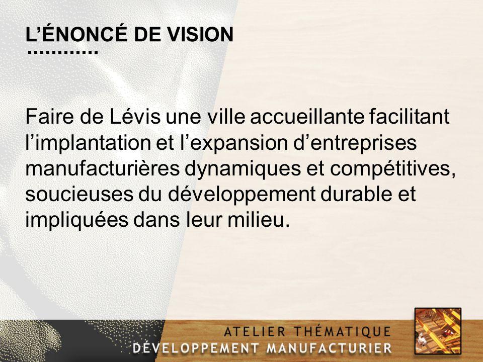 Faire de Lévis une ville accueillante facilitant limplantation et lexpansion dentreprises manufacturières dynamiques et compétitives, soucieuses du développement durable et impliquées dans leur milieu.