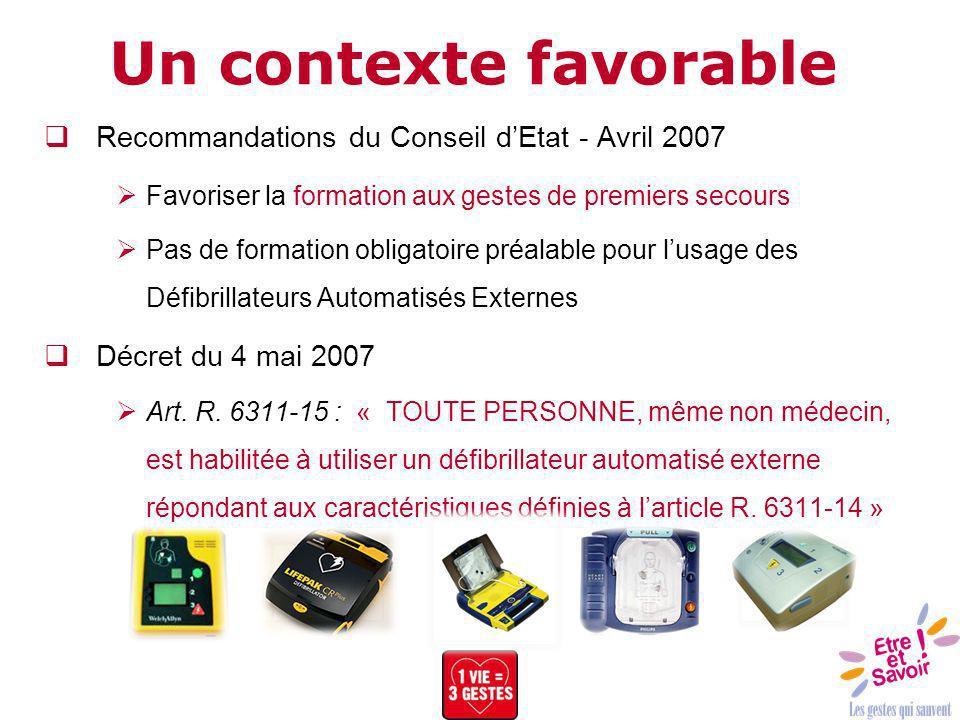 Recommandations du Conseil dEtat - Avril 2007 Favoriser la formation aux gestes de premiers secours Pas de formation obligatoire préalable pour lusage
