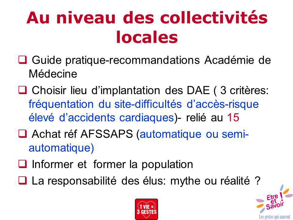 Au niveau des collectivités locales Guide pratique-recommandations Académie de Médecine Choisir lieu dimplantation des DAE ( 3 critères: fréquentation