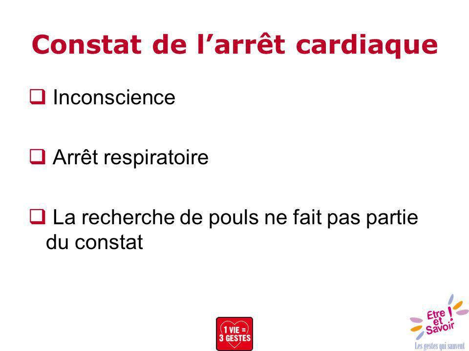 Constat de larrêt cardiaque Inconscience Arrêt respiratoire La recherche de pouls ne fait pas partie du constat