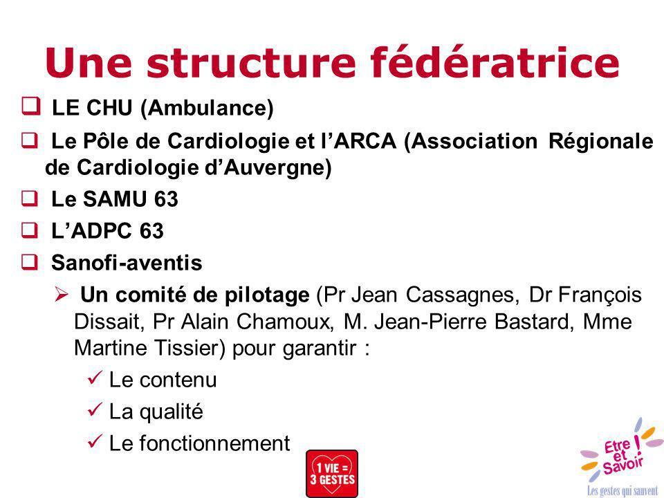 Une structure fédératrice LE CHU (Ambulance) Le Pôle de Cardiologie et lARCA (Association Régionale de Cardiologie dAuvergne) Le SAMU 63 LADPC 63 Sano