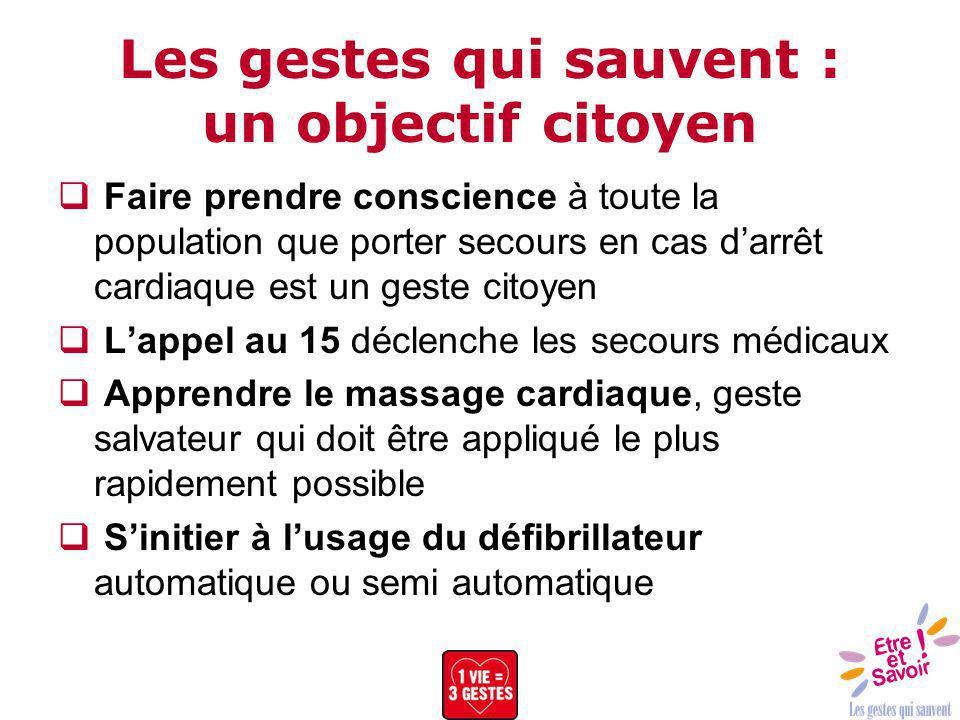 Les gestes qui sauvent : un objectif citoyen Faire prendre conscience à toute la population que porter secours en cas darrêt cardiaque est un geste ci
