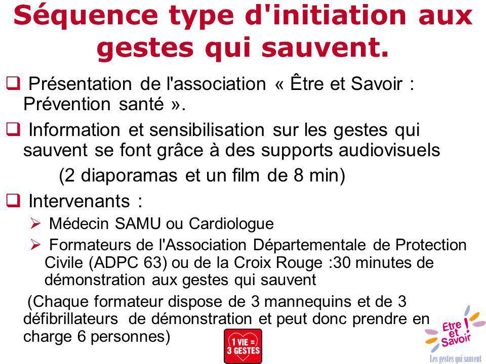 Séquence type d'initiation aux gestes qui sauvent. Présentation de l'association « Être et Savoir : Prévention santé ». Information et sensibilisation