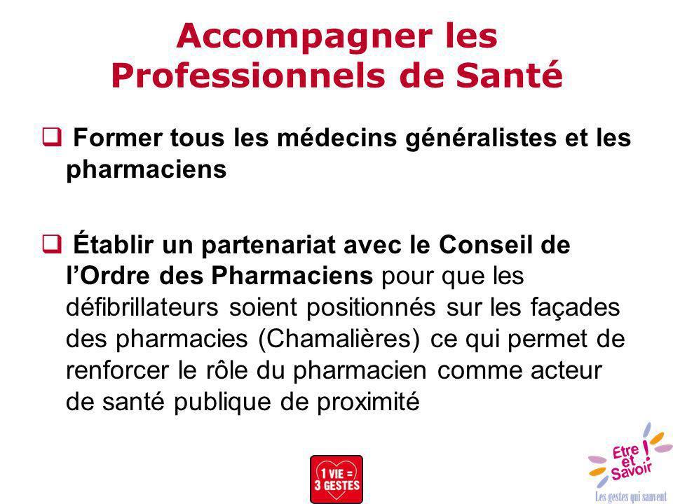 Accompagner les Professionnels de Santé Former tous les médecins généralistes et les pharmaciens Établir un partenariat avec le Conseil de lOrdre des