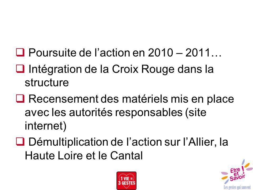 Poursuite de laction en 2010 – 2011… Intégration de la Croix Rouge dans la structure Recensement des matériels mis en place avec les autorités respons