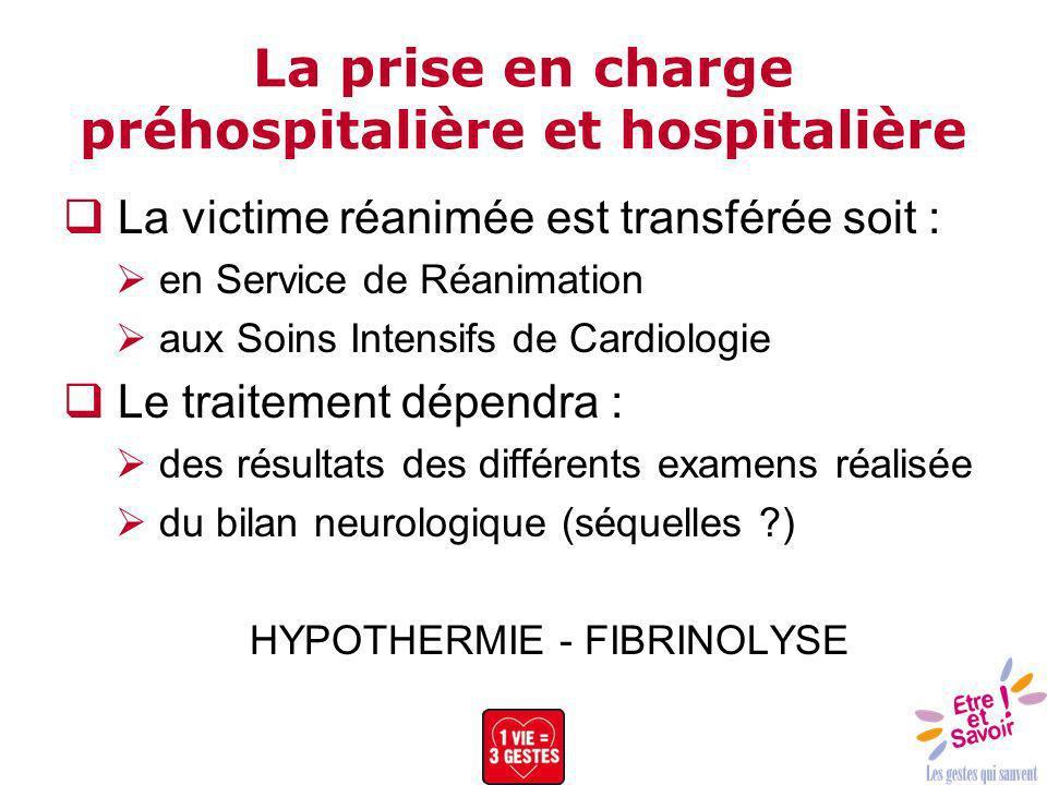 La prise en charge préhospitalière et hospitalière La victime réanimée est transférée soit : en Service de Réanimation aux Soins Intensifs de Cardiolo