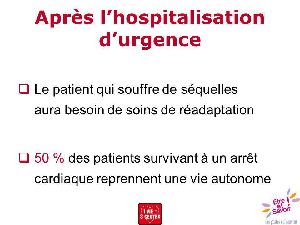 Après lhospitalisation durgence Le patient qui souffre de séquelles aura besoin de soins de réadaptation 50 % des patients survivant à un arrêt cardia