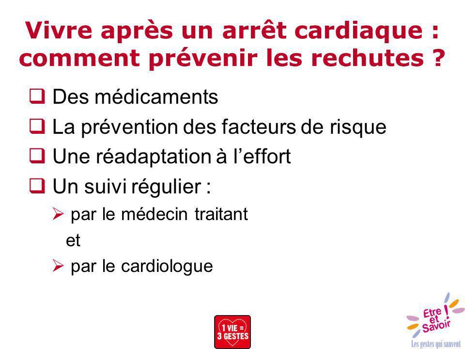 Vivre après un arrêt cardiaque : comment prévenir les rechutes ? Des médicaments La prévention des facteurs de risque Une réadaptation à leffort Un su