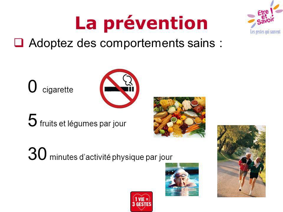 Adoptez des comportements sains : 0 cigarette 5 fruits et légumes par jour 30 minutes dactivité physique par jour La prévention