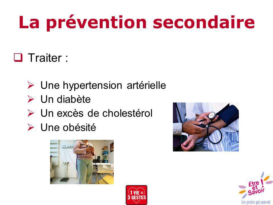 La prévention secondaire Traiter : Une hypertension artérielle Un diabète Un excès de cholestérol Une obésité