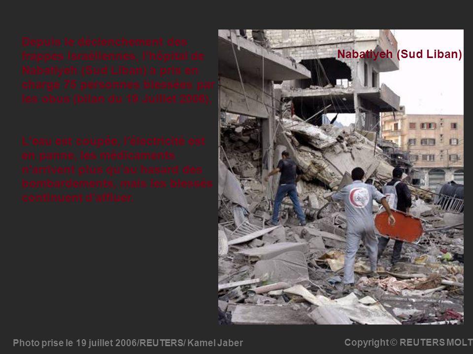 Photo prise le 19 juillet 2006/REUTERS/ Kamel Jaber Copyright © REUTERS MOLT Depuis le déclenchement des frappes israéliennes, l'hôpital de Nabatiyeh