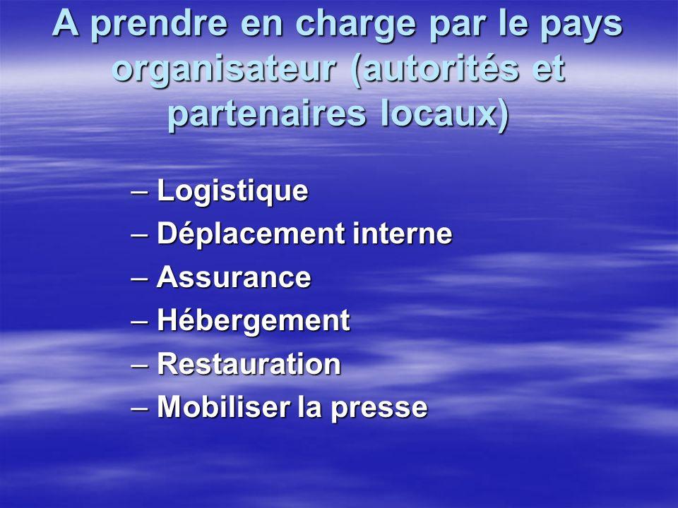 A prendre en charge par le pays organisateur (autorités et partenaires locaux) – Logistique – Déplacement interne – Assurance – Hébergement – Restauration – Mobiliser la presse