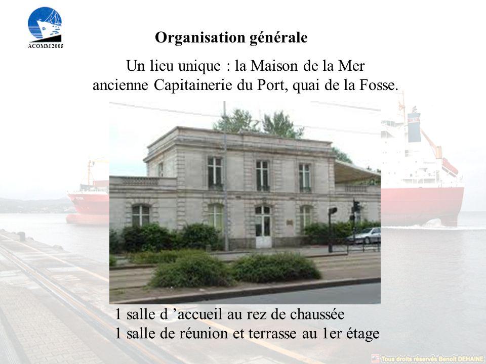 ACOMM 2005 Organisation générale Un lieu unique : la Maison de la Mer ancienne Capitainerie du Port, quai de la Fosse.
