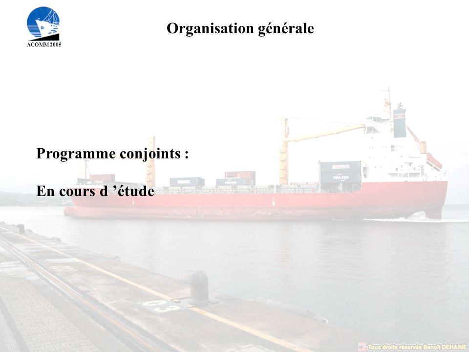 ACOMM 2005 Organisation générale Programme conjoints : En cours d étude