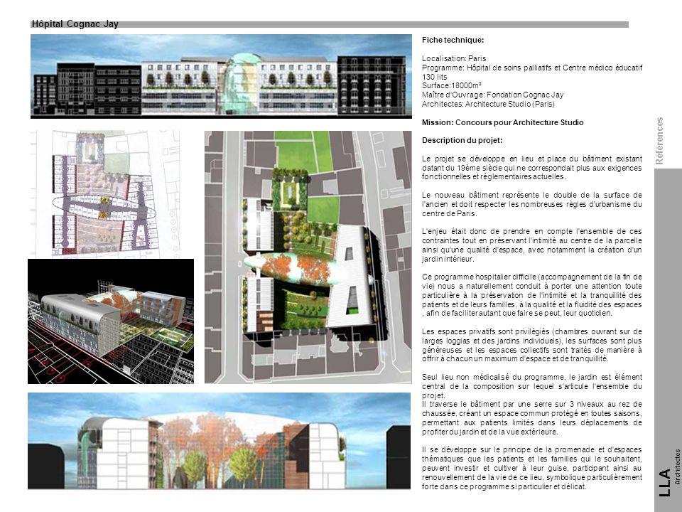 Hôpital Cognac Jay LLA Architectes Fiche technique: Localisation: Paris Programme: Hôpital de soins palliatifs et Centre médico éducatif 130 lits Surf