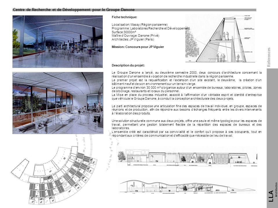Fiche technique: Localisation: Massy (Région parisienne) Programme: Laboratoires Recherche et Développement Surface:30000m² Maître dOuvrage: Danone (P