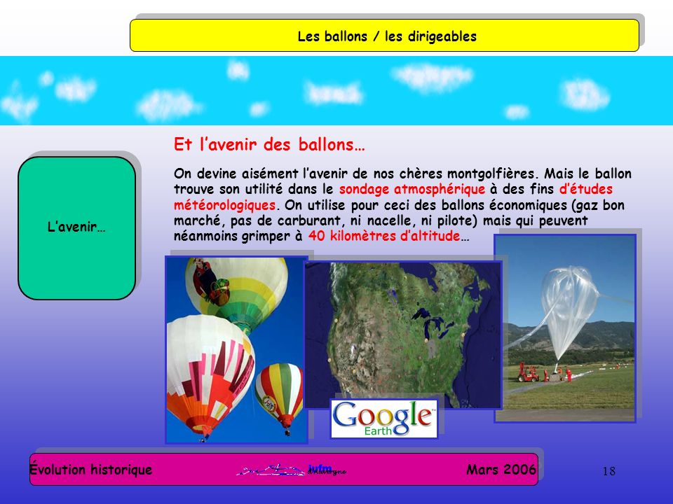 18 Évolution historique Mars 2006 Les ballons / les dirigeables Lavenir… Et lavenir des ballons… On devine aisément lavenir de nos chères montgolfières.