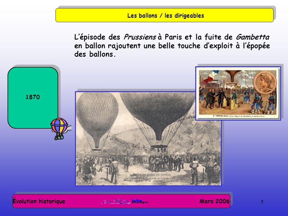 5 Évolution historique Mars 2006 Les ballons / les dirigeables 1870 Lépisode des Prussiens à Paris et la fuite de Gambetta en ballon rajoutent une belle touche dexploit à lépopée des ballons.