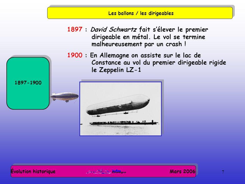 7 Évolution historique Mars 2006 Les ballons / les dirigeables 1897-1900 1897 : David Schwartz fait sélever le premier dirigeable en métal. Le vol se