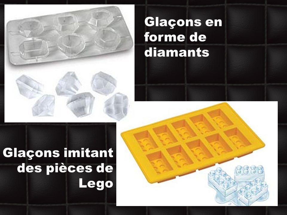 Glaçons en forme de diamants Glaçons imitant des pièces de Lego