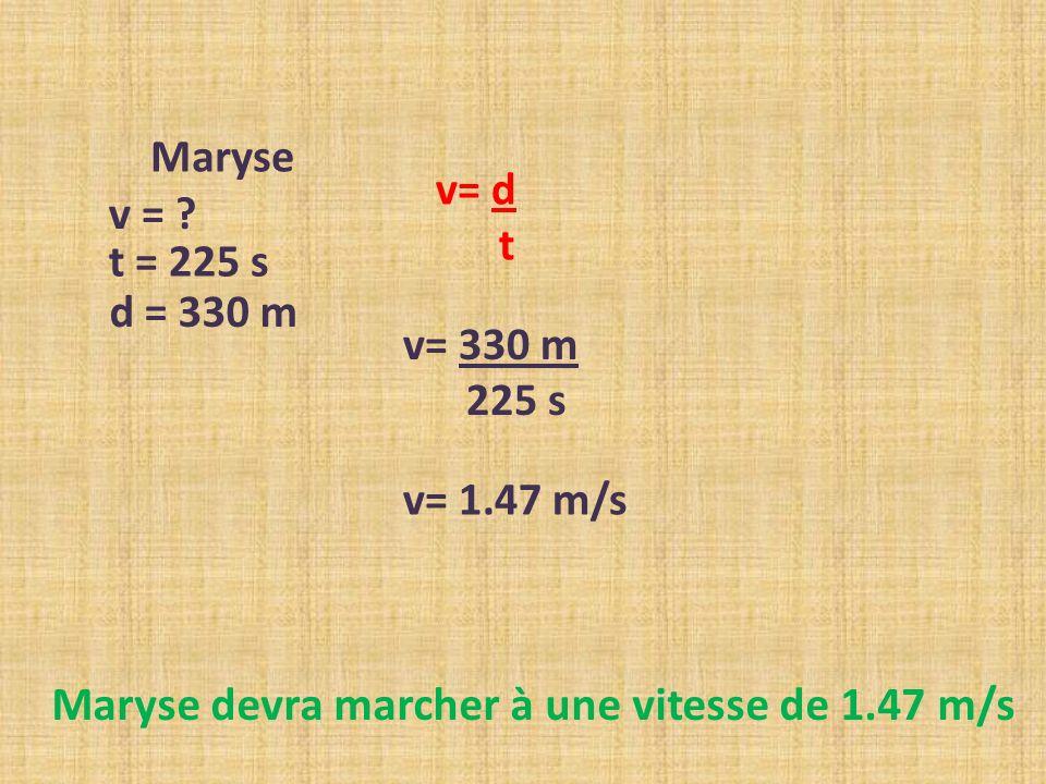 v = ? t = 225 s Maryse d = 330 m v= d t v= 330 m 225 s v= 1.47 m/s Maryse devra marcher à une vitesse de 1.47 m/s