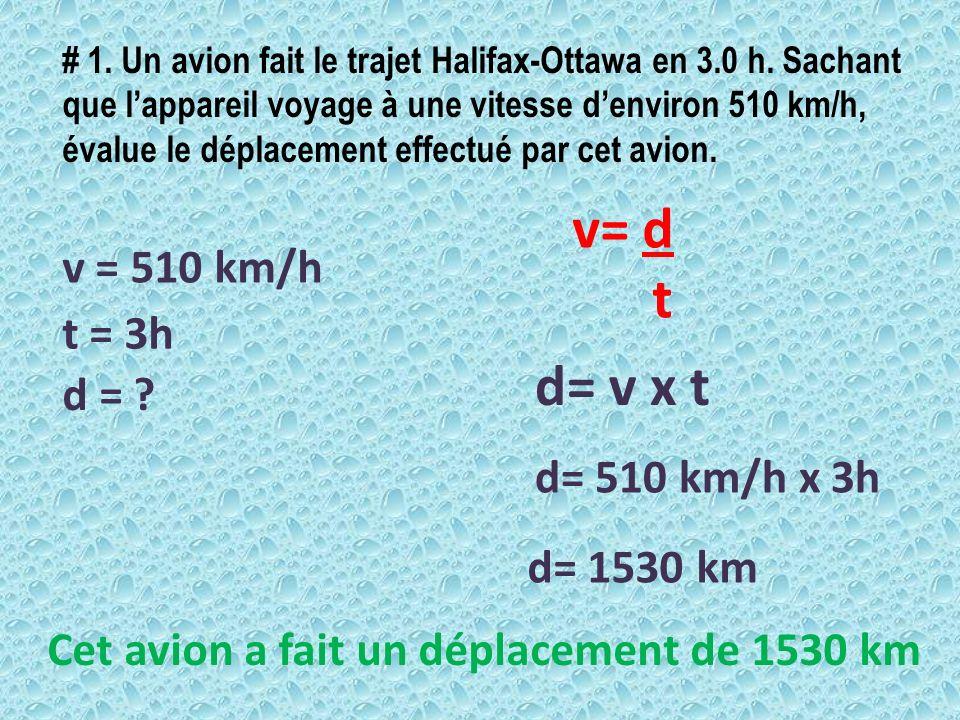 # 1. Un avion fait le trajet Halifax-Ottawa en 3.0 h. Sachant que lappareil voyage à une vitesse denviron 510 km/h, évalue le déplacement effectué par