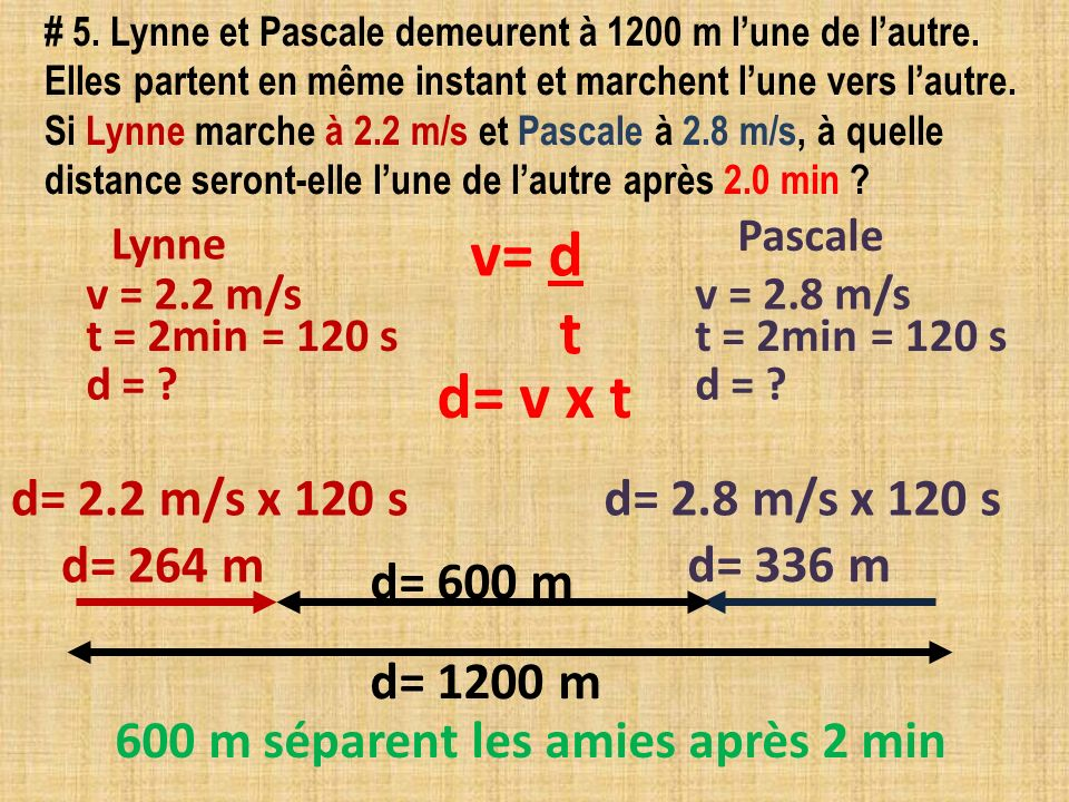 # 5. Lynne et Pascale demeurent à 1200 m lune de lautre. Elles partent en même instant et marchent lune vers lautre. Si Lynne marche à 2.2 m/s et Pasc