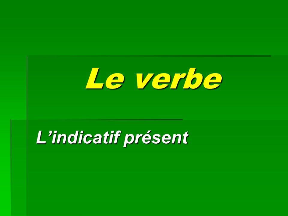 Le verbe Lindicatif présent