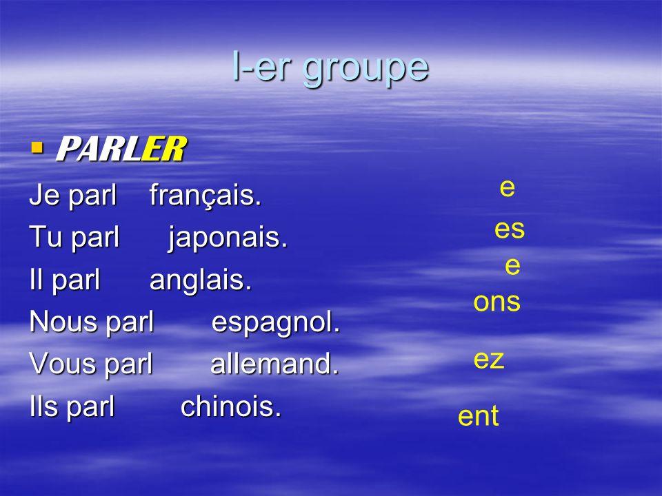 I-er groupe PARLER PARLER Je parl français. Tu parl japonais. Il parl anglais. Nous parl espagnol. Vous parl allemand. Ils parl chinois. e es e ons ez