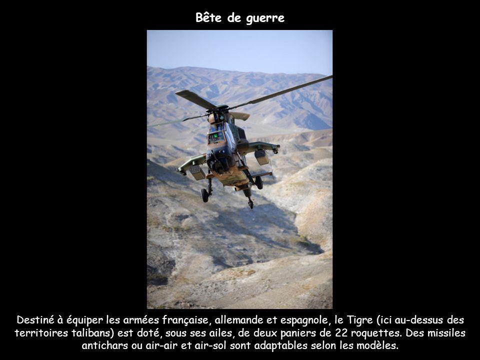 Destiné à équiper les armées française, allemande et espagnole, le Tigre (ici au-dessus des territoires talibans) est doté, sous ses ailes, de deux pa