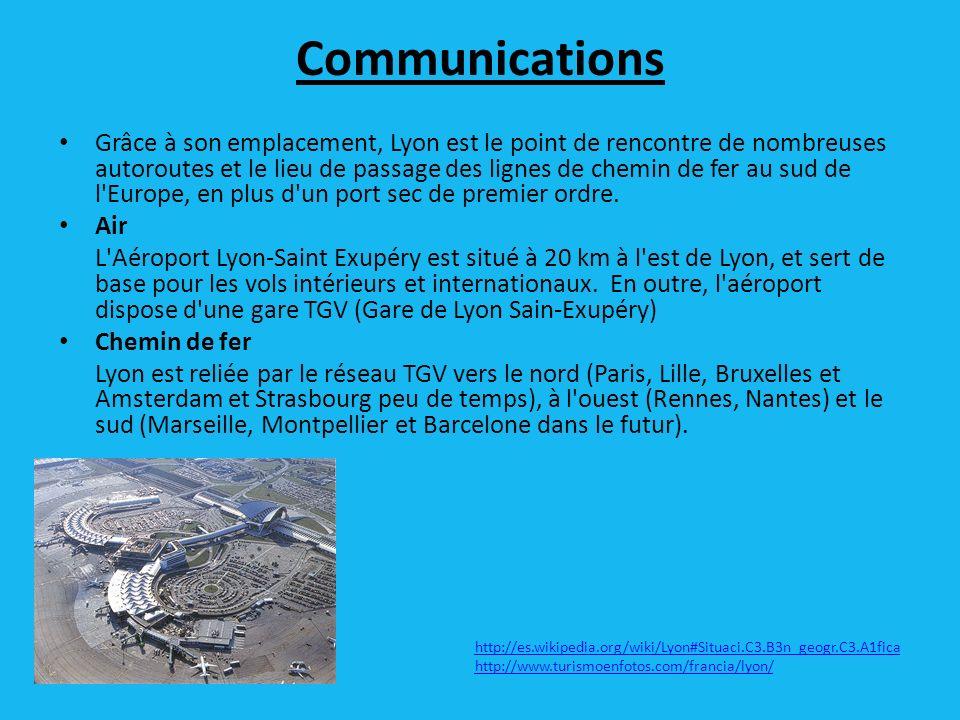 Communications Grâce à son emplacement, Lyon est le point de rencontre de nombreuses autoroutes et le lieu de passage des lignes de chemin de fer au sud de l Europe, en plus d un port sec de premier ordre.