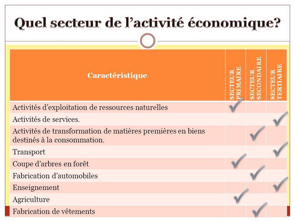 Caractéristique SECTEUR PRIMAIRE SECTEUR SECONDAIRE SECTEUR TERTIAIRE Activités dexploitation de ressources naturelles Activités de services. Activité