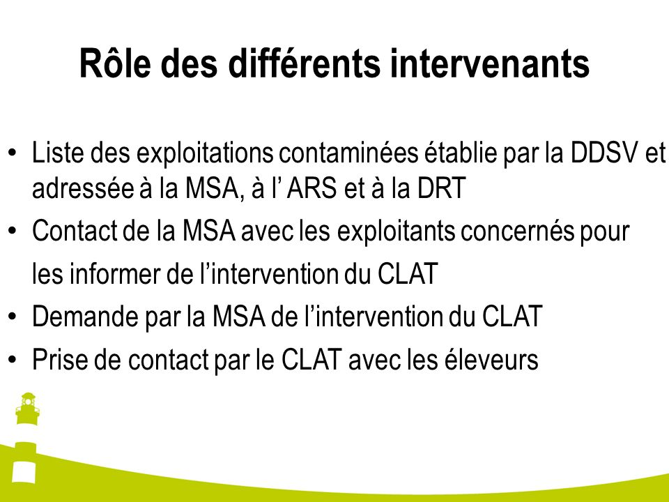 Rôle des différents intervenants Liste des exploitations contaminées établie par la DDSV et adressée à la MSA, à l ARS et à la DRT Contact de la MSA a