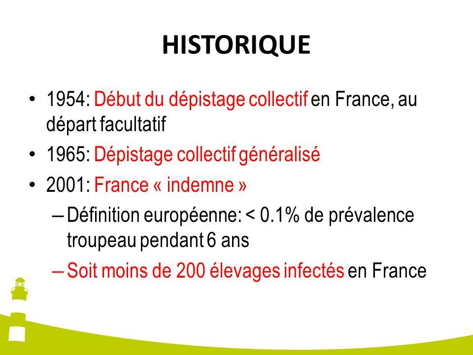 HISTORIQUE 1954: Début du dépistage collectif en France, au départ facultatif 1965: Dépistage collectif généralisé 2001: France « indemne » – Définiti
