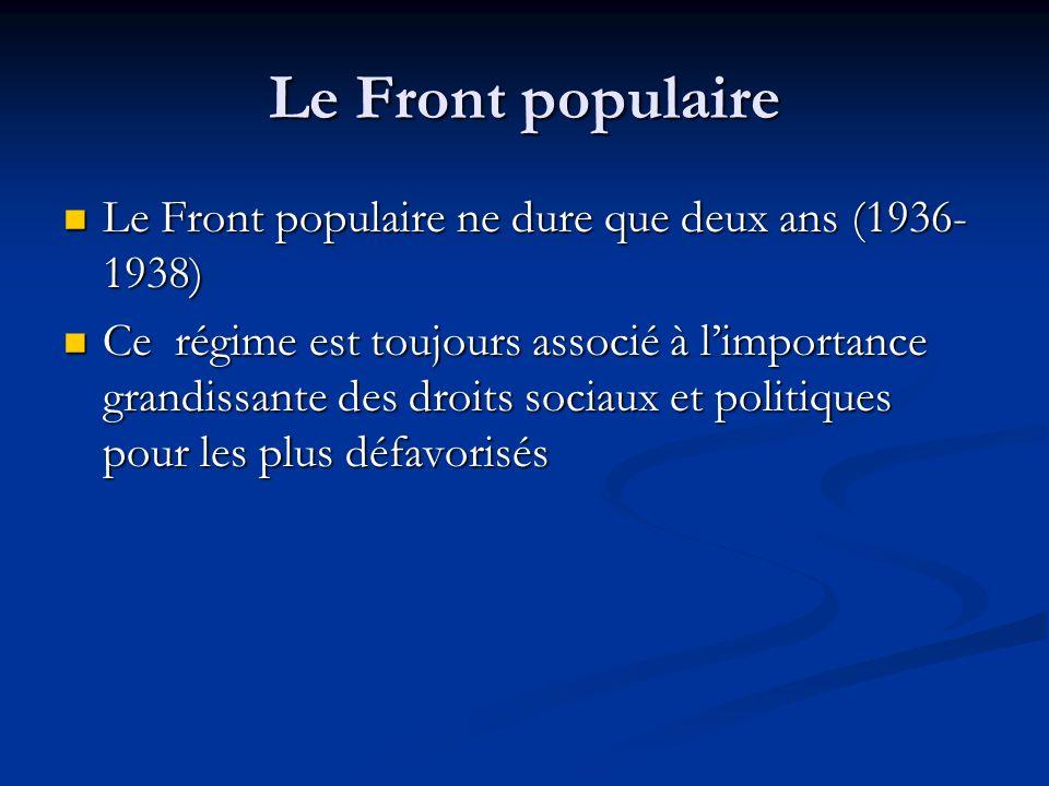 Le Front populaire Le Front populaire ne dure que deux ans (1936- 1938) Le Front populaire ne dure que deux ans (1936- 1938) Ce régime est toujours associé à limportance grandissante des droits sociaux et politiques pour les plus défavorisés Ce régime est toujours associé à limportance grandissante des droits sociaux et politiques pour les plus défavorisés
