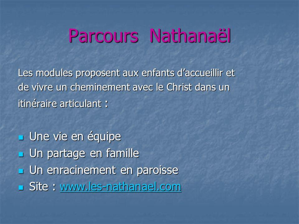Parcours Nathanaël Les modules proposent aux enfants daccueillir et de vivre un cheminement avec le Christ dans un itinéraire articulant : Une vie en