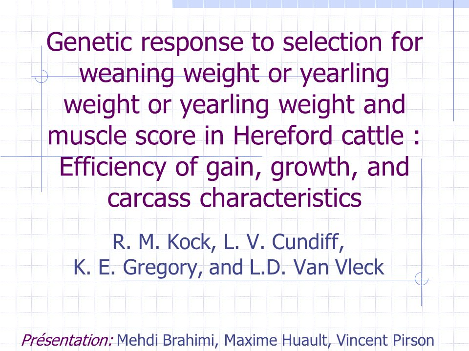 Genetic response to selection for weaning weight or yearling weight or yearling weight and muscle score in Hereford cattle : Efficiency of gain, growth, and carcass characteristics R.