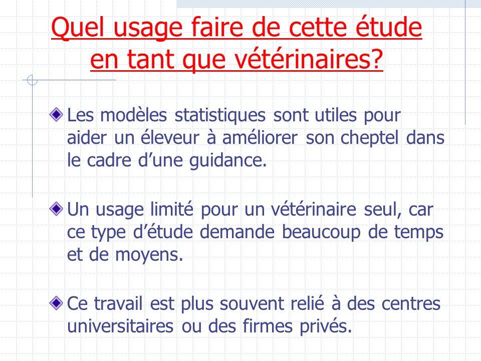 Quel usage faire de cette étude en tant que vétérinaires? Les modèles statistiques sont utiles pour aider un éleveur à améliorer son cheptel dans le c