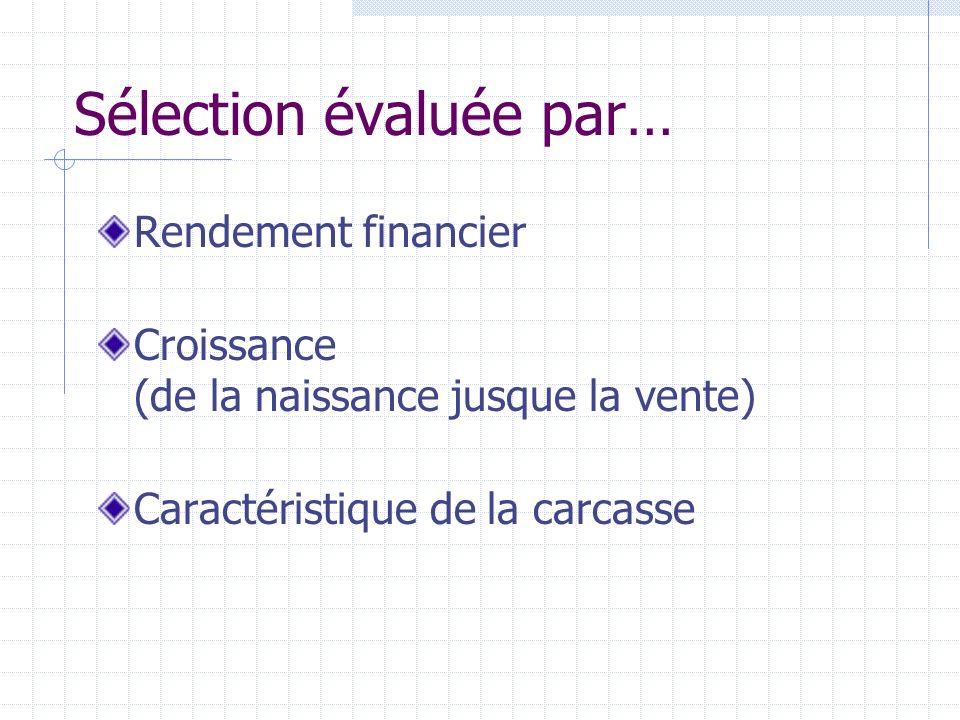Sélection évaluée par… Rendement financier Croissance (de la naissance jusque la vente) Caractéristique de la carcasse