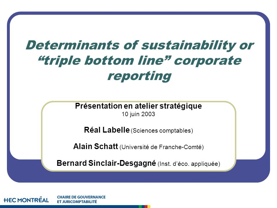 Determinants of sustainability or triple bottom line corporate reporting Présentation en atelier stratégique 10 juin 2003 Réal Labelle (Sciences comptables) Alain Schatt (Université de Franche-Comté) Bernard Sinclair-Desgagné (Inst.