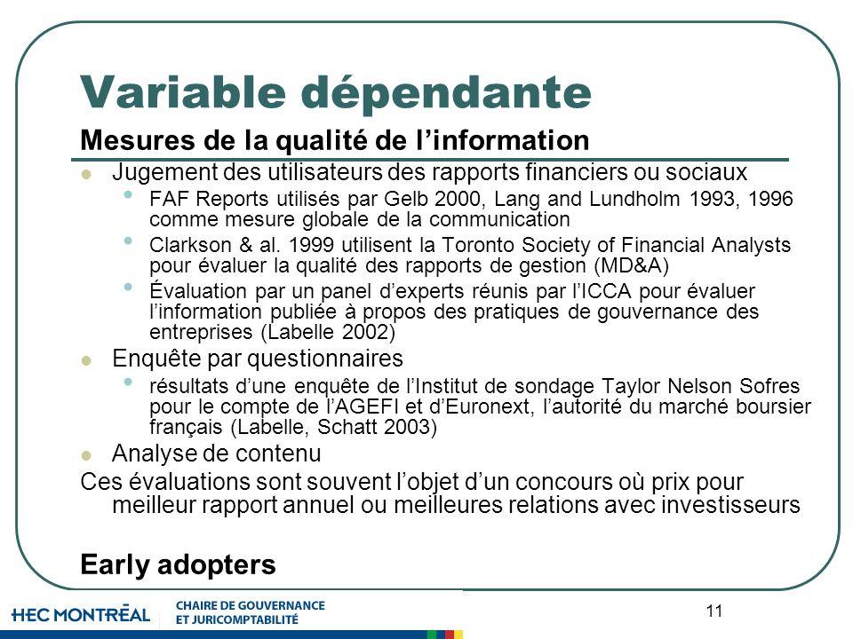 11 Variable dépendante Mesures de la qualité de linformation Jugement des utilisateurs des rapports financiers ou sociaux FAF Reports utilisés par Gelb 2000, Lang and Lundholm 1993, 1996 comme mesure globale de la communication Clarkson & al.