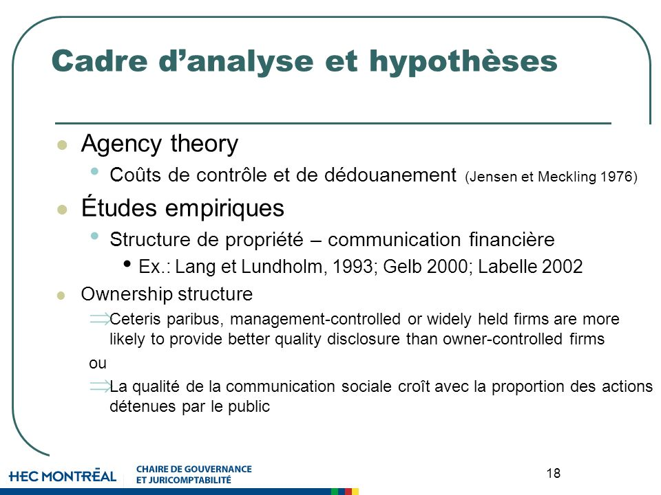 18 Cadre danalyse et hypothèses Agency theory Coûts de contrôle et de dédouanement (Jensen et Meckling 1976) Études empiriques Structure de propriété – communication financière Ex.: Lang et Lundholm, 1993; Gelb 2000; Labelle 2002 Ownership structure Ceteris paribus, management-controlled or widely held firms are more likely to provide better quality disclosure than owner-controlled firms ou La qualité de la communication sociale croît avec la proportion des actions détenues par le public