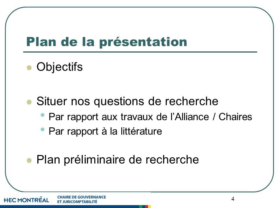 4 Plan de la présentation Objectifs Situer nos questions de recherche Par rapport aux travaux de lAlliance / Chaires Par rapport à la littérature Plan préliminaire de recherche
