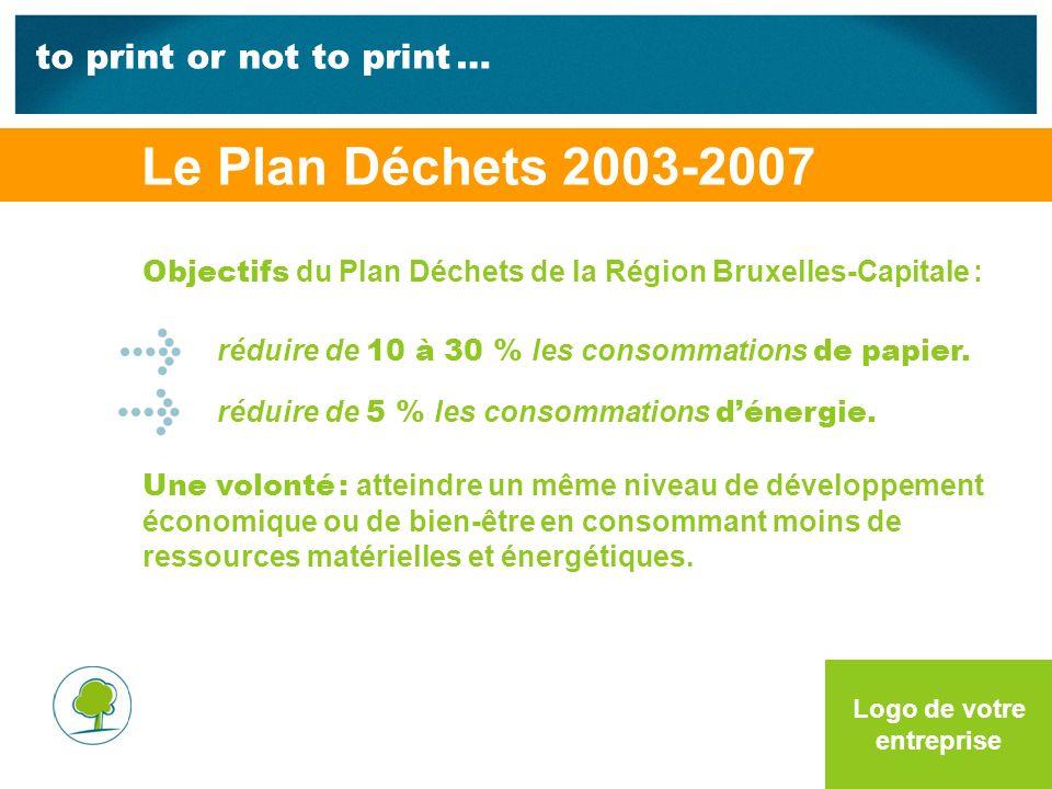 to print or not to print … Logo de votre entreprise Objectifs du Plan Déchets de la Région Bruxelles-Capitale : réduire de 10 à 30 % les consommations de papier.