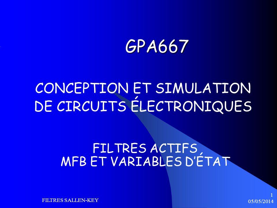 05/05/2014 FILTRES SALLEN-KEY 22 FILTRE BP VARIABLES DÉTAT Le filtre à variable détat permet de disposer de 3 sorties : Passe bas (LP), passe haut (HP) et passe bande (BP) Lordre de ce filtre est 2 Plus complexe que Sallen-Key mais plus versatile.